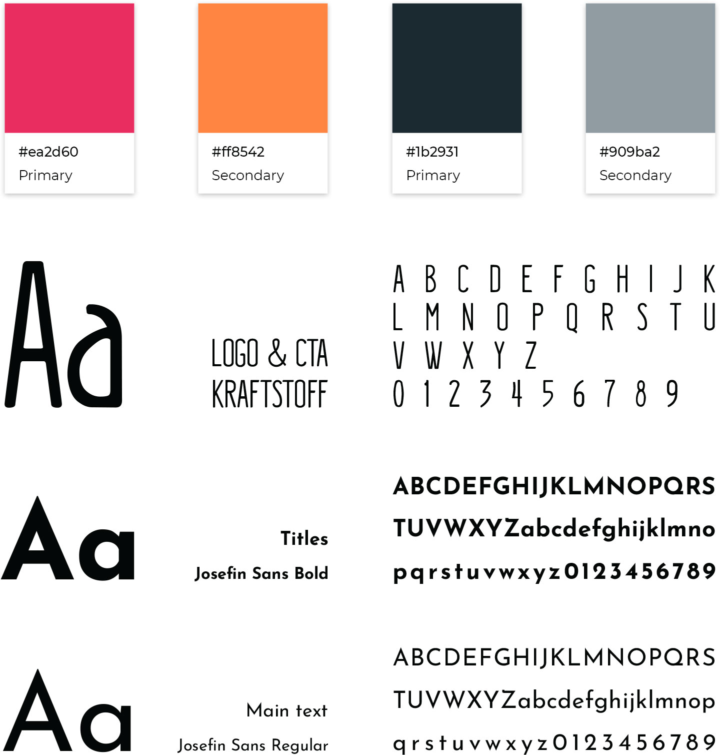Firstserved fonts and colors used